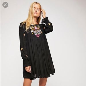 NWT free people black embroidered dress